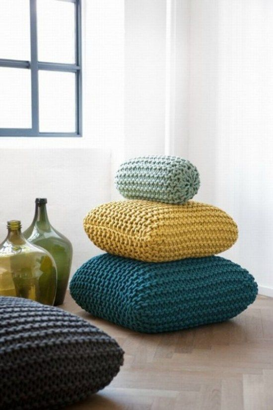 knitted-cushions Teal and mustard