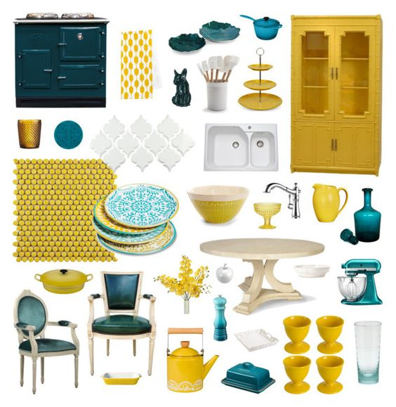 teal-and-yellow-kitchen